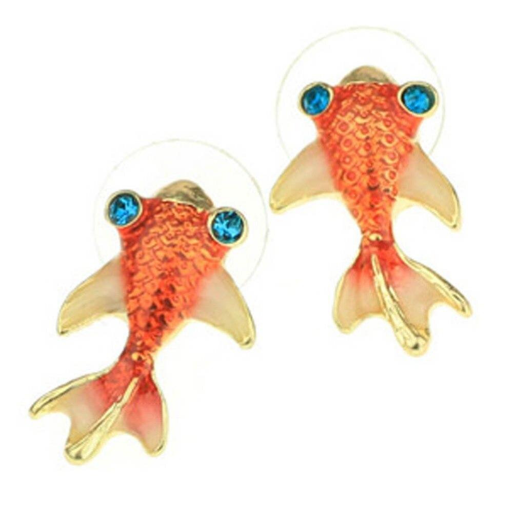 1 Пара Новый Стиль Симпатичные Золотая Рыбка Остеклением Серьги Очаровательный Ювелирные Изделия Груза падения