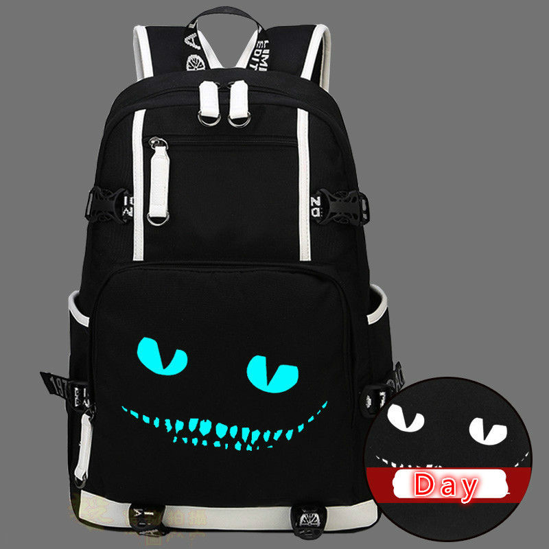 Alice In Wonderland Cheshire Cat Luna Backpack Bag Luminous Glow In Dark Messenger School Students Girls Bag New
