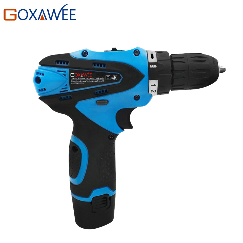 GOXAWEE 12V Electric Drill Electric Cordless Screwdriver Cordless Drill Two Speed Rechargeable Lithium Battery Power Hand Tool 25v cordless drill electric two speed rechargeable 2pcs lithium battery waterproof drill led light