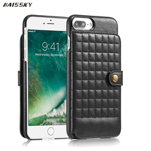 HAISSKY 6 6S Leather Soft Bag Case For Iphone X Flip Covers For iPhone 6 6S 7 8 Plus Phone Coque Accessories