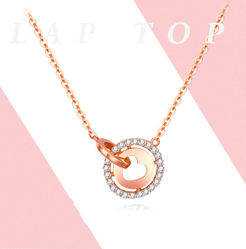 Trendy 18K Real Gold 2 Circle Heart Crystal Pendant Charm Necklace for Women Girl Fancy AU750 Solid Genuine Fine Jewelry GiftTrendy 18K Real Gold 2 Circle Heart Crystal Pendant Charm Necklace for Women Girl Fancy AU750 Solid Genuine Fine Jewelry Gift