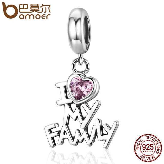 BAMOER Genuine 925 Sterling Silver I Love My Family Heart Dangle Charms fit Wome