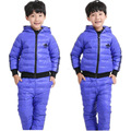 2017 Hooded Down Jacket + Trousers Waterproof Snow Warm kids Boy girl Clothes Jogging Suits New Children Clothing sets 2-9year