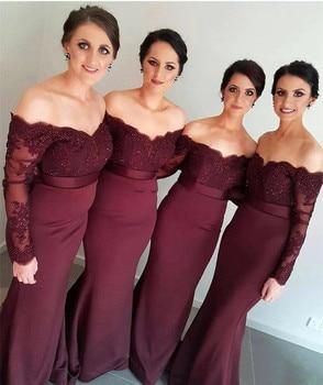 Elegant Long Sleeve Bridesmaid Dresses 2019 Off The Shoulder Mermaid Beaded Lace Custom Made Women Wedding Party Dress Cheap