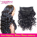 Loose Wave Clip In Human Hair Extensions 7A Loose Wave Human Hair Curly Hair Extensions Brazilian Virgin Hair Clip In Extension