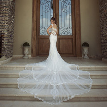 Sexy Fashion Lace Soft Satin V-neck Vestido De Noiva Sereia 2015 New Style Summer Simple Cathedral Royal Train Wedding Dresses