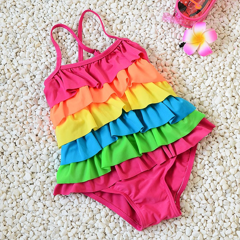 New Cute Lovely Ruffles Kids Rainbow One-piece Dress Girl Children Rainbow Swimwear Baby Swimsuit Bathing Suit For 2-9 years old