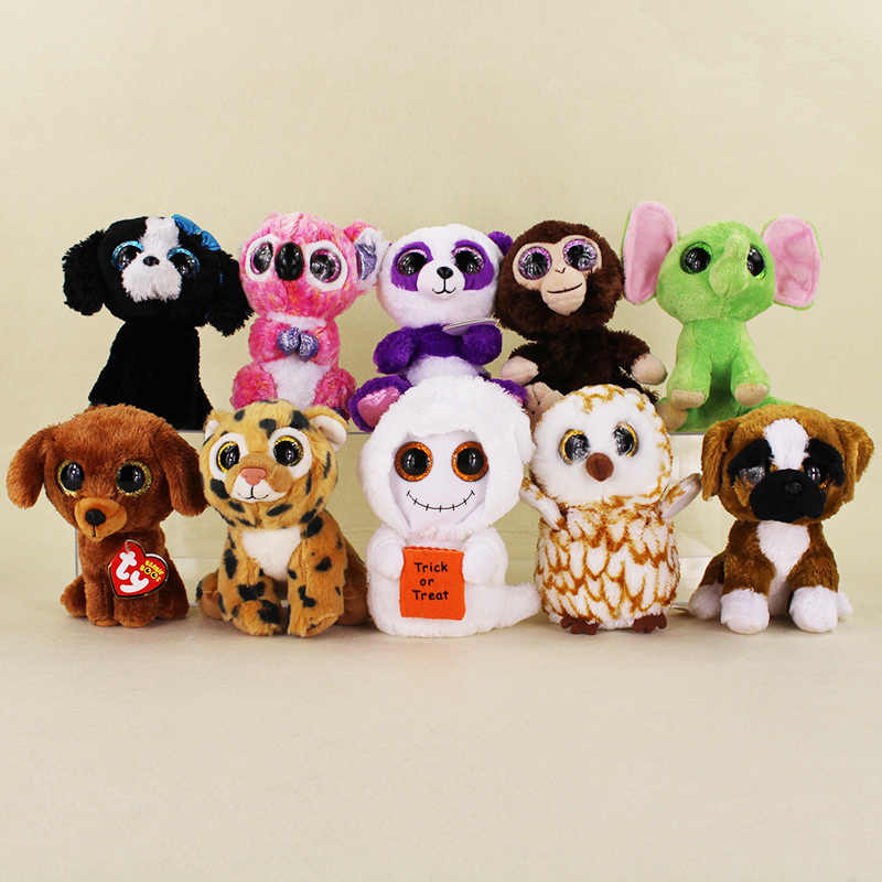 b0c28efc5c0 15cm Ty Beanie Boos Big Eyes Tiger Halloween Mist White Ghost Tracey Black  Dog Brutus -