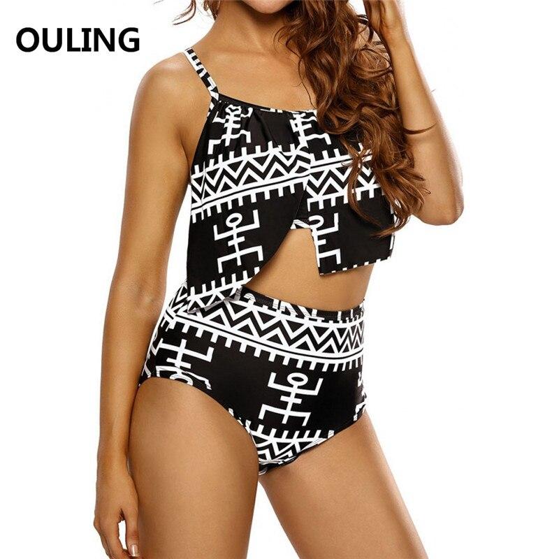 OULING High Waist Plus Size Bathing Suit Vintage Swimwear Ruffle Cover Push Up Bikini Large Size Biquinis Triangle Swimsuit 5XL