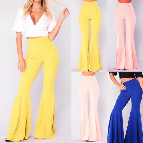 ca7091110d7 Boho Hippie High Waist Wide Leggings Long Flared Bell Bottom Pants Summer  Spring Blue Yellow S M L XL USA