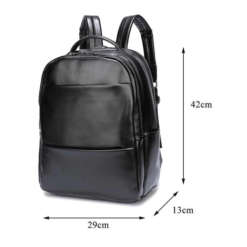 ... VORMOR известный бренд Модный консервативный Стиль Женский Мужской  школьный рюкзак для подростков однотонный черный кожаный рюкзак ... 9c0edba02b7