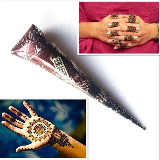 Tidak Beracun Alami Badan Lukisan Warna Coklat Pasta Henna India