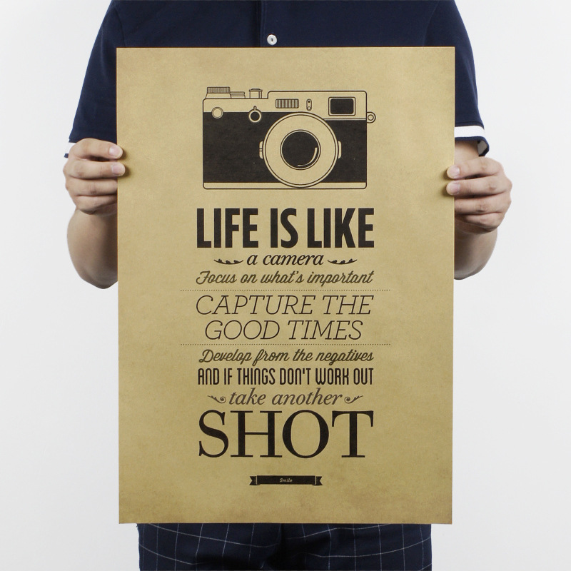 Life series B/Life is like a camera/kraft paper/bar poster/Retro Poster/decorative painting 51x35.5cm Free shipping
