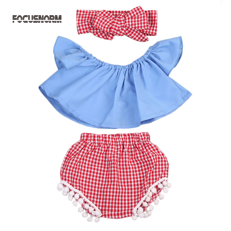 New Fashion Newborn Toddler Baby Girl Clothes Set Off Shoulder Top T-Shirt+Shorts 3PCS Outfit