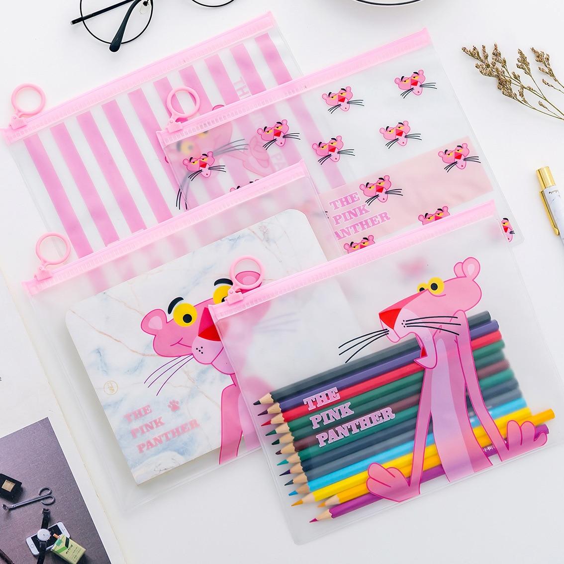 Creative Pink Leopard Transparent PVC Document Bag File Folder Stationery Organizer