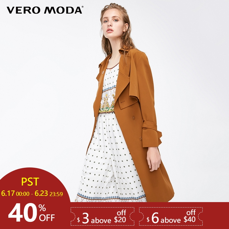 Vero Moda Straight Fit Lace-up Real Two-piece Medium Length   Trench   Coat|318321507