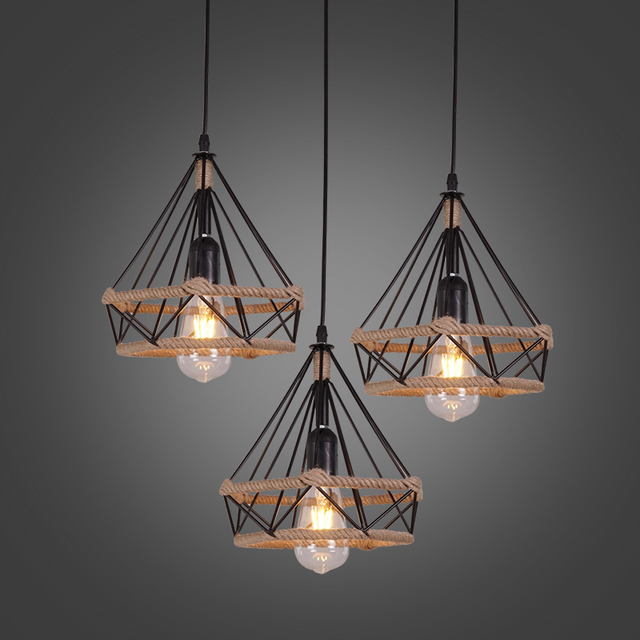 Us 2 48 45 Off Led Lights Retro Indoor Lighting Vintage Pendant Light Kinds Iron Cage Lampshade Warehouse Style Fixture In
