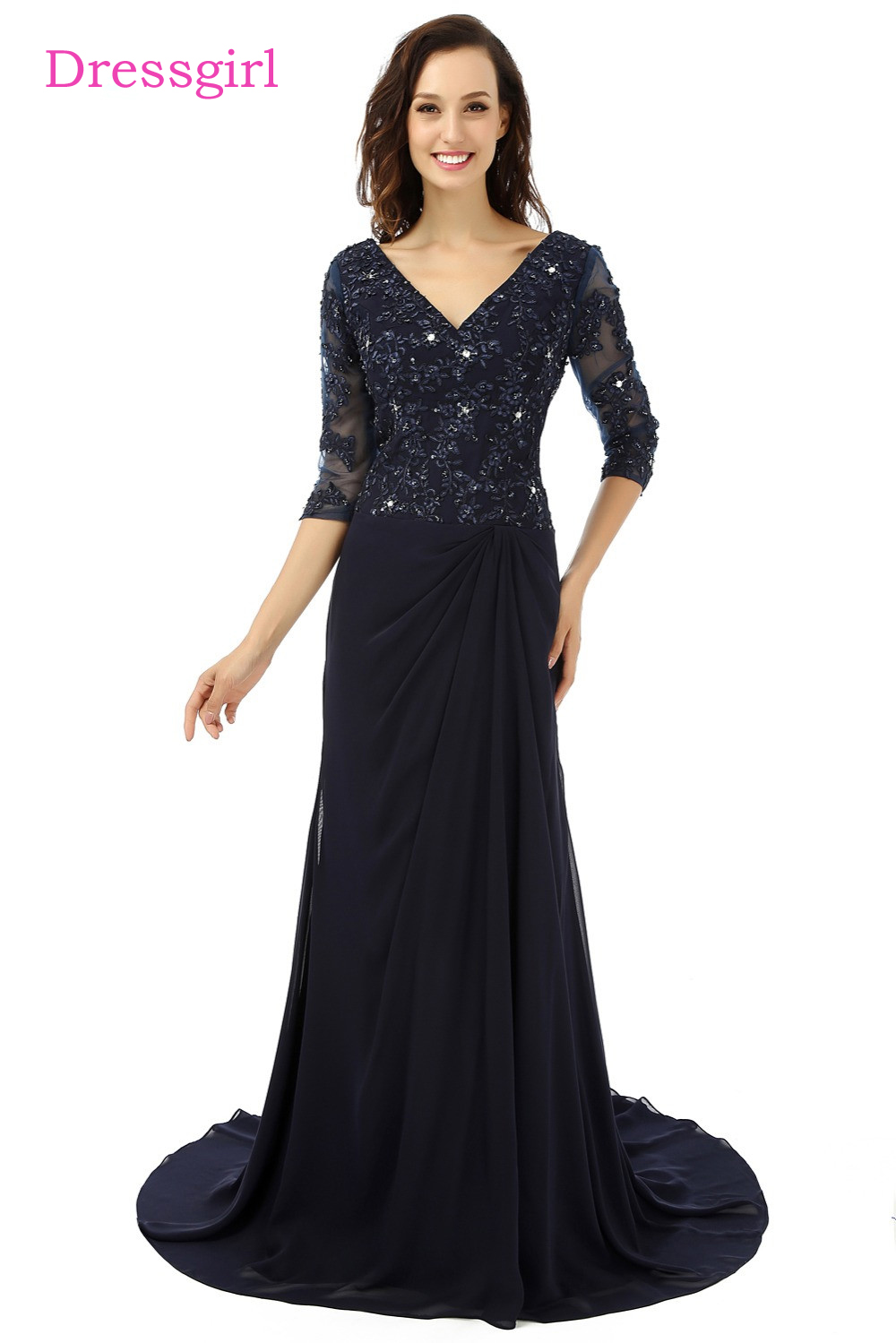 Navy Blue Plus Size 2019 Mother Of The Bride Dresses A-line V-neck 3/4 Sleeves Wedding Party Dress Mother Dresses For Wedding