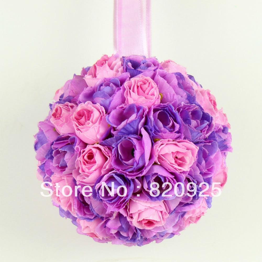 1 X Pink Purple 5inch Kissing Ball Pomander Wedding Flowers Ball