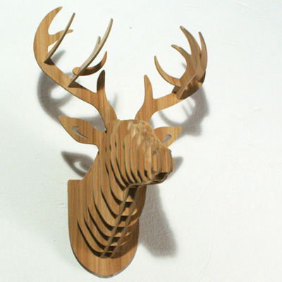Home Decoration Deer Head Wall Hanging Art Diy Wooden Craft