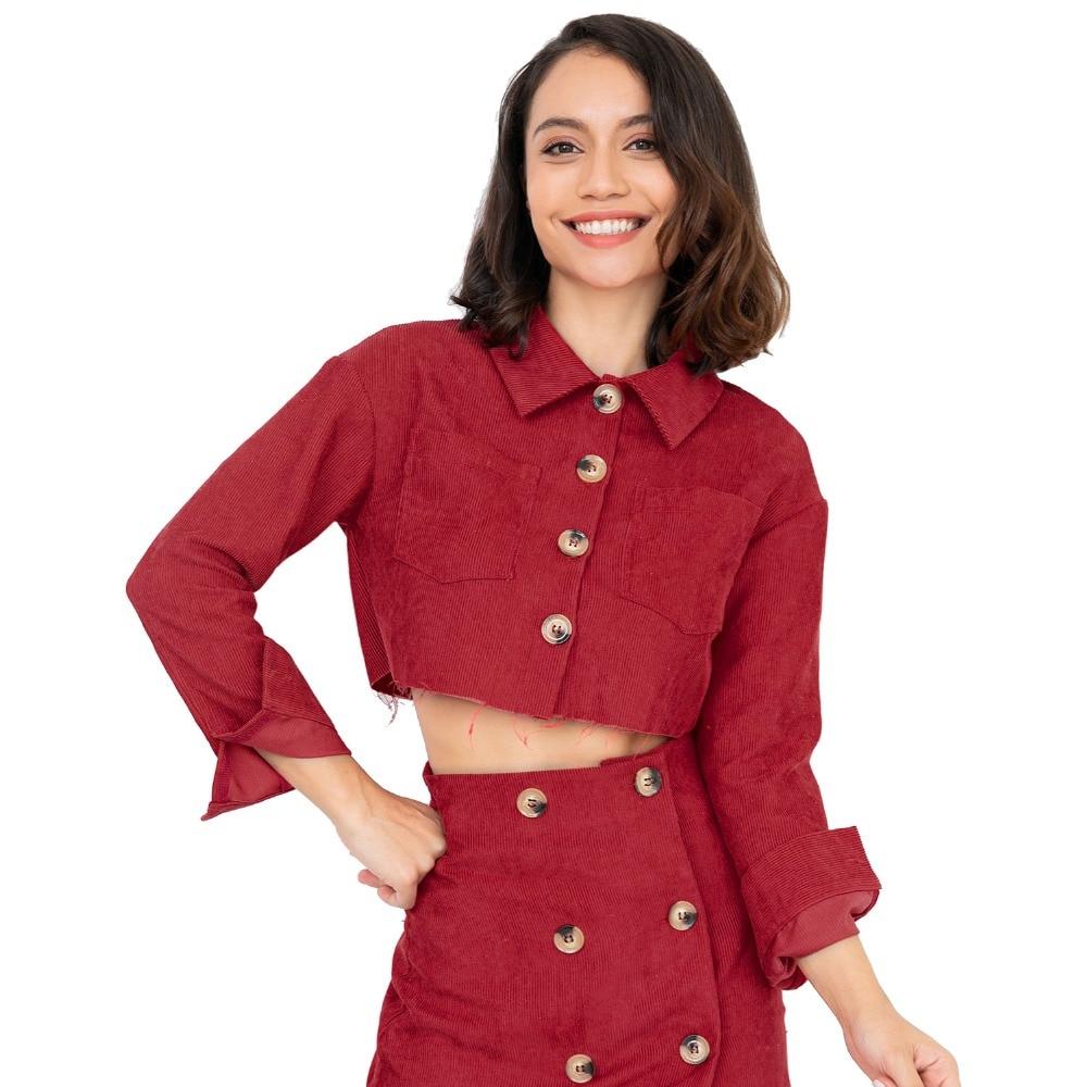 autumn corduroy ladies basic jacket women coat 2018 winter women christmas red button short basic jackets womens coat female - Christmas Jackets