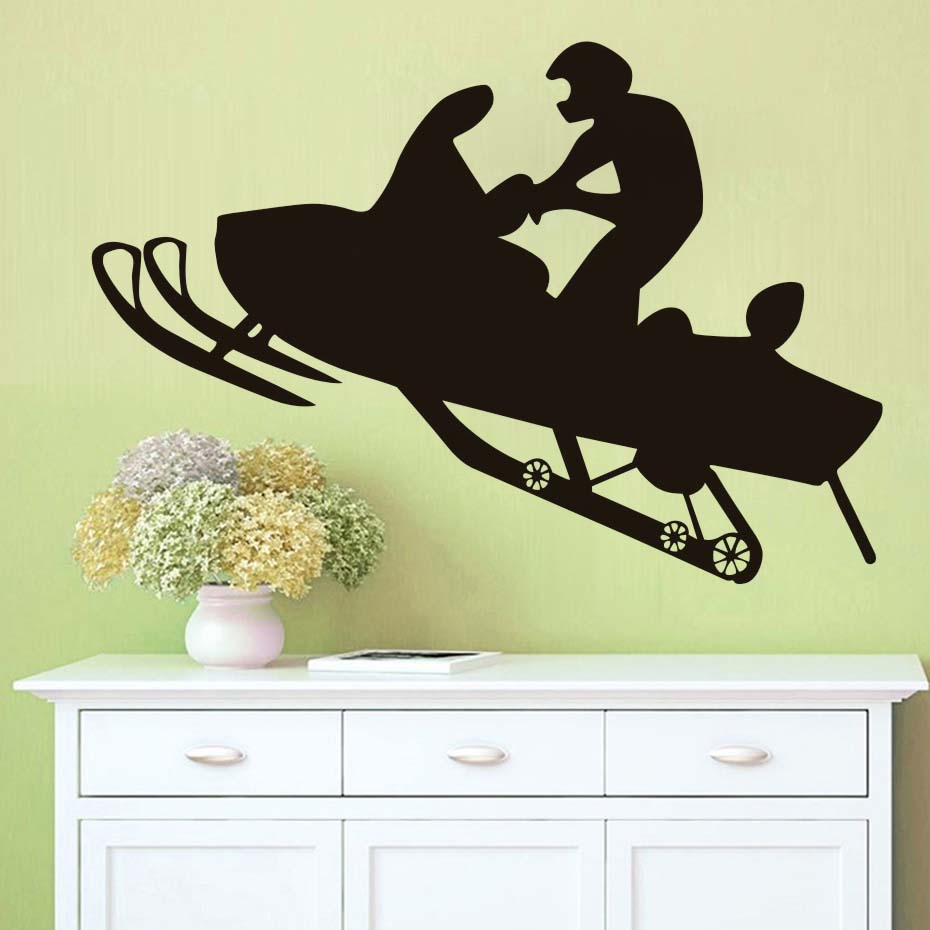 Racing Winter Sport Wall Decal Snowmobiles Vinyl Art Wall Stickers ...