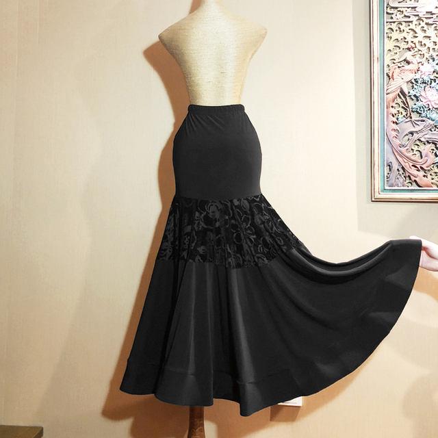 3d972f1cd12a Women Black Modern Dance Costumes Flamenco Skirts Ballroom Skirts Latin  Salsa Flamenco Ballroom Dance Dress Skirt Dance wear