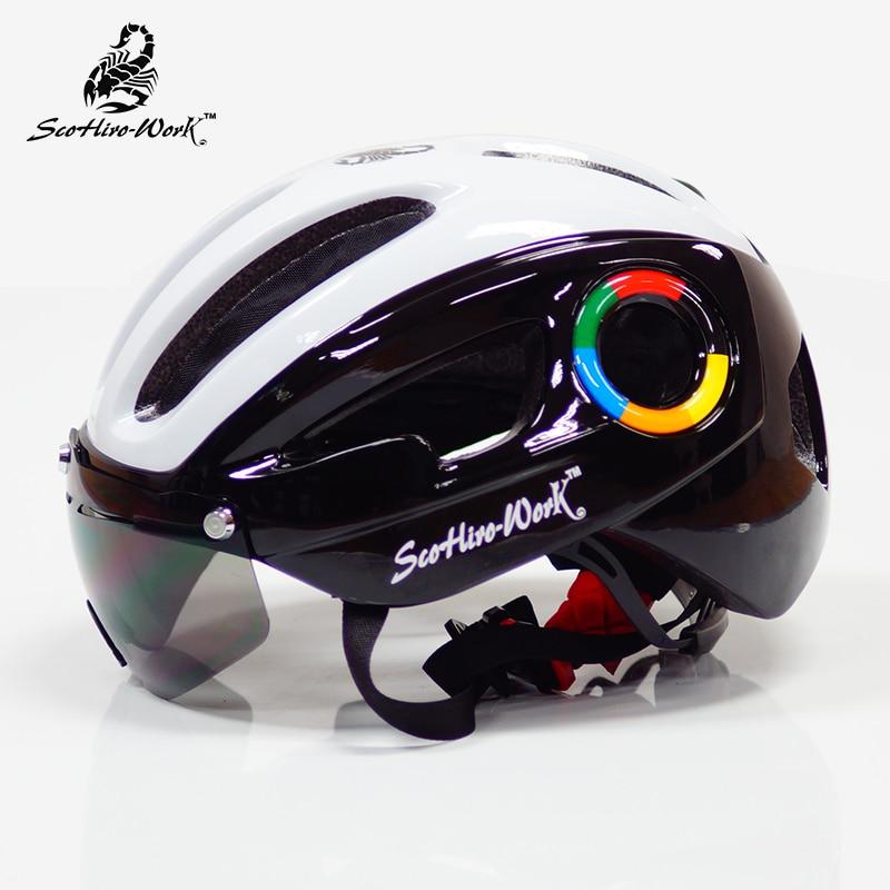 Bicycle-Helmet Lenses-Goggles Cycling-Casco Mountain-Bike Road Scohiro Work Casco-Ciclismo