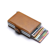 Bycobecy 2019 Card Holder Wallet RFID Blocking Double Metal Box Credit Card Aluminium Leather Business Card Case Wallet Purse