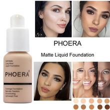 Phoera 30ml Face Liquid Foundation Base Soft Matte Long Wear Oil Control Concealer Cream Women Makeup Cosmetic