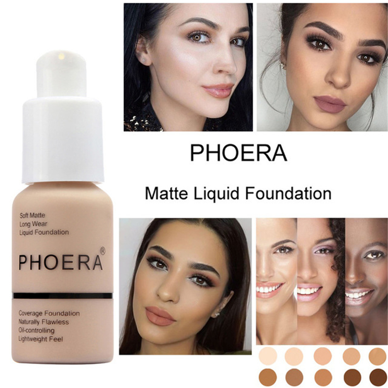 Phoera 30ml Face Liquid Foundation Base Soft Matte Long Wear Oil Control Concealer Foundation Cream Women Makeup Cosmetic image