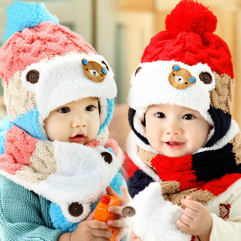 2ef3f0bef5e Detail Feedback Questions about Baby Hat Scarf Set Cute Bear Patchwork Warm  Earmuffs Beanie Bobble Hat Child Kids Knit Cap and Scarves Winter Warm Set  ...