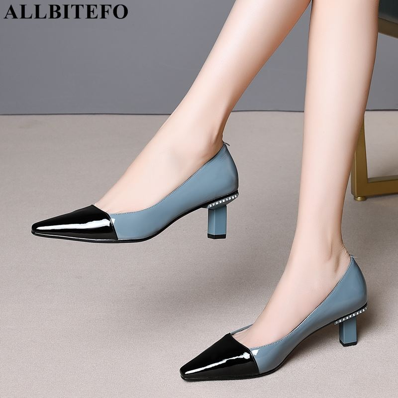 ALLBITEFO high quality genuine leather pointed toe high heels women shoes mixed colors women high heel
