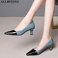 ALLBITEFO high quality genuine leather pointed toe high heels women shoes mixed colors women high heel shoes office ladies shoes