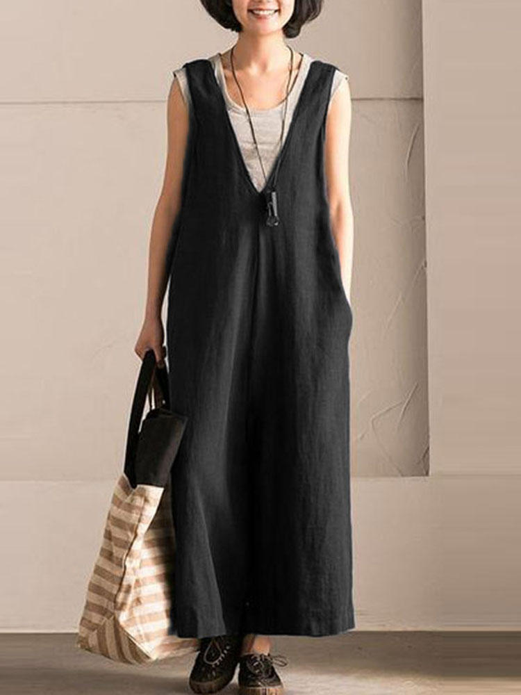 Wide Leg Trousers Women Vintage Overalls Sleeveless Strappy Dungarees Solid Loose Rompers Plus Size L-5xl Black Jumpsuits Pants
