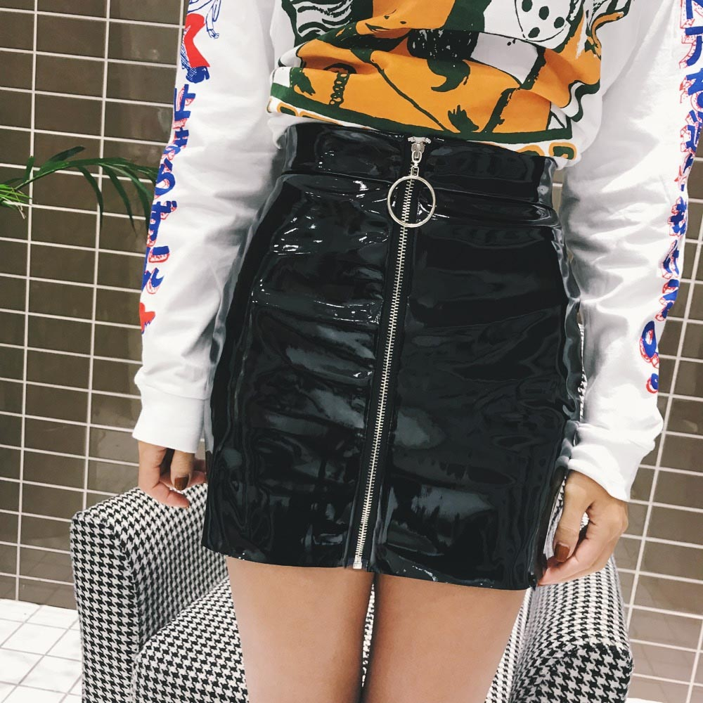 women skirt casual zip