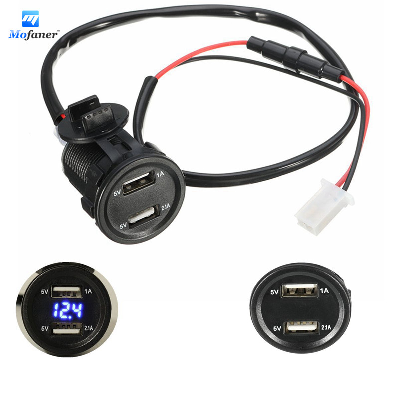Mofaner 12V 4.2A Dual USB Motorcycle Charger Socket Voltage Voltmeter Led light For Car Motorbike