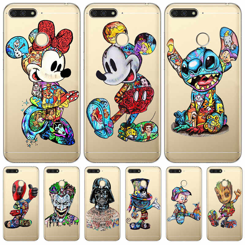 Luxury Mickey Stitch For Huawei Honor 10 9 8 8X 8C 7A 7C 7X 7 6X 6A 20 Pro V20 20i Lite phone Case Cover Funda Coque Etui capa