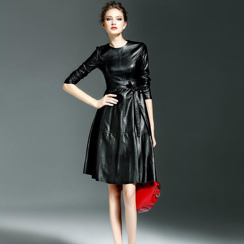 2018 Autumn Women Faux Leather Dress Slim Long Sleeve O neck Pu Female Dresses High Quality
