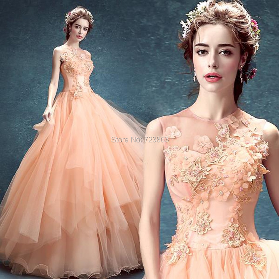 5 hot sale 2016 new pink flower backless chiffon Quinceanera dresses scoop sleeveless ball gown long dresses