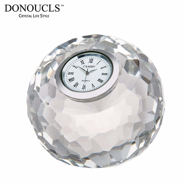 DONOUCLS Apple Table Clock Radiance Coll Cut Crystal Optical Glass Craft  Round Clear 8cm X 8cm