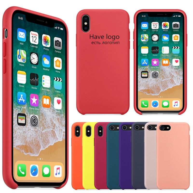 Original Have LOGO Silicone Case For iPhone 7 8 Plus Phone Silicon Cover For iphone X 6S 6 Plus 5 5s SE For Apple Retail Box