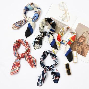 50*50cm Fashion Women Elegant Floral Silk Square Scarf Small Plain Neckerchief Handle Bag Ribbons Ladies Headband Hair Tie Band 2