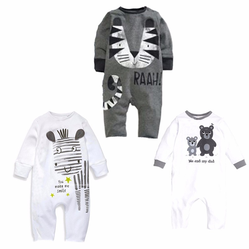 Cute Infant Baby Boys Clothes Cartoon Animal Printed Cotton Rompers Girls Bebe Jumpsuit Spring Autumn Kids Toddler Clothing newborn baby rompers baby clothing 100% cotton infant jumpsuit ropa bebe long sleeve girl boys rompers costumes baby romper