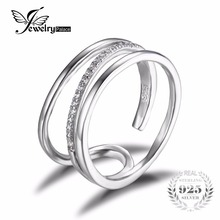 Jewelrypalace aniversario de boda cubic zirconia anillo de la venda de pura plata esterlina 925 joyería de moda las mujeres el mejor regalo para los amantes