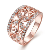 Jenia 2017 New fashion Rose Gold Color Beautiful AAA Cubic Zirconia Hollow Out Flower Ring for Women CR098