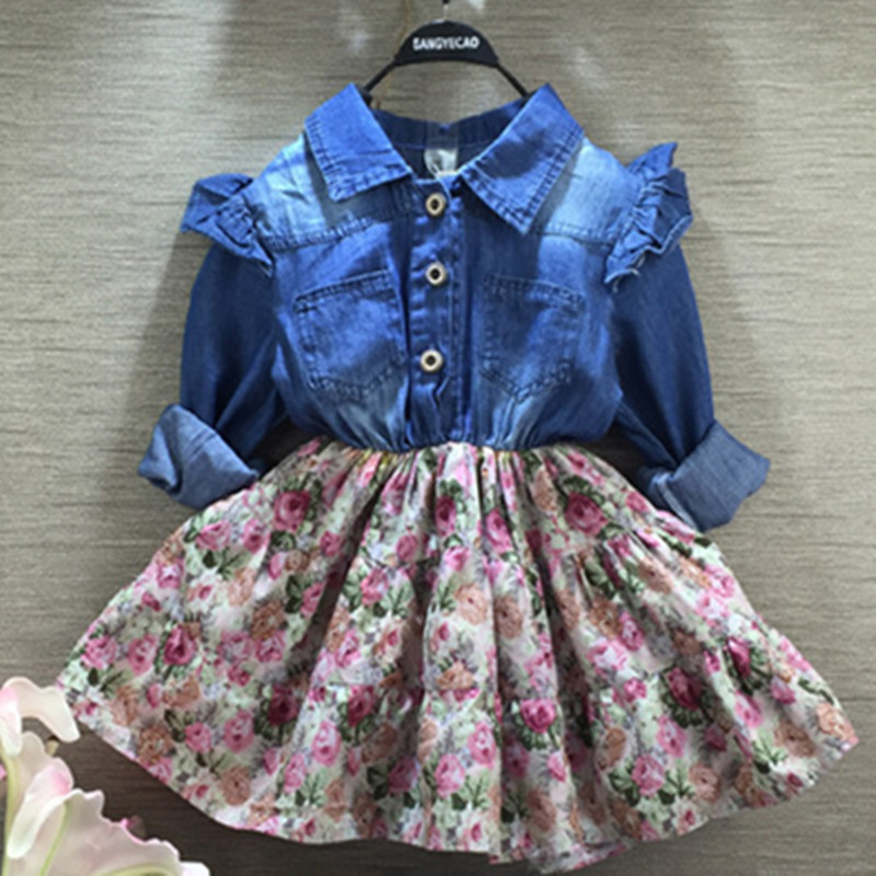 2016 autumn new baby girls jeans stitching Floral Dress long sleeve draped dress Outfit TuTu цены онлайн