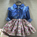 2016 autumn new baby girls jeans stitching Floral Dress long sleeve draped dress Outfit TuTu
