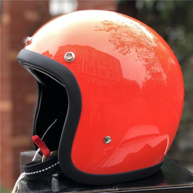 TT & CO fatto a mano retrò moto casco 3/4 Aperto Viso casco moto D'epoca stile DD anello fibbia Sottile Borsette vecchio Stile Moto - 2