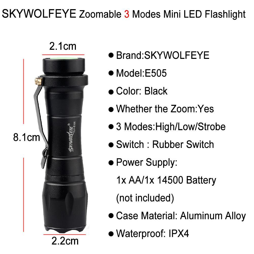 SKYWOLFEYE Mini penlight 2000LM XP-E Q5 LED Waterproof Flashlight zoomable Adjustable 3 Modes Portable AA/14500 Battery